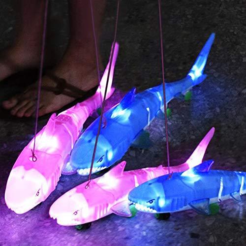 FairOnly Shark mit Leine Elektrische Leine Tier-Serie Licht Musik Universal Hai Kinder Puzzle zufällige Farbe