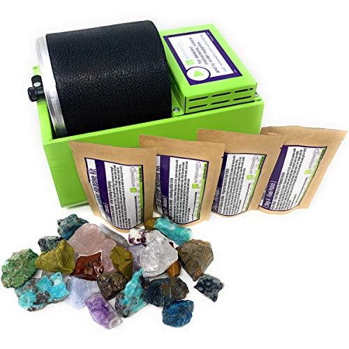 WireJewelry Single Barrel Rotary Rock Tumbler Eco Starter Kit, Includes 1.5 Pounds of Rough...