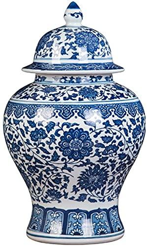 Jarrón de Porcelana Antigua Azul y Blanco Flor de cerámica florero Templo Jar Jarrón Jarrón Hecho a Mano Ming Estilo para decoración del hogar Sala de Estar - C H37CMXW22CM