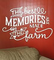 Wall Decor Plus More The Best Memories.Made On Farm ビニールウォールデカール カントリー引用文 34x23 ホワイトホワイト