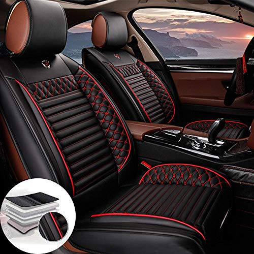 Juego de 2 Fundas de Cuero para Asientos Delanteros de Coche para Seat Ateca Arona Ibiza Leon Toledo, Compatible con airbag (Negro)