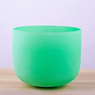 Sponsored Ad - Frosted 432Hz Perfect Picth F Heart Chakra Green Colored Quartz Crystal Singing Bowl 8 inch+ rubber mallet...