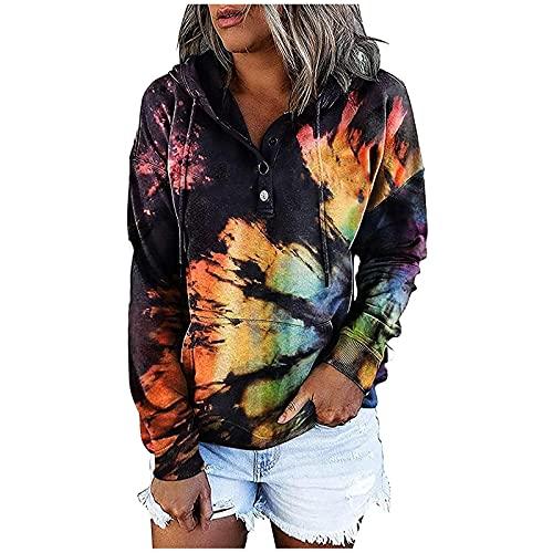 YESMAN Sudadera con capucha para mujer con estampado de arco iris, con estampado de arco iris, para adolescentes, holgada y deportiva, con estampado de letras, sudadera con capucha, Azul A, M