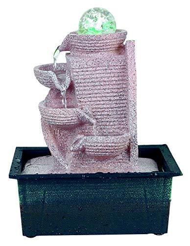 Zimmerbrunnen Springbrunnen Zierbrunnen Kaskadenbrunnen Luftbefeuchter LED Beleuchtung Höhe 27 cm Modell 5