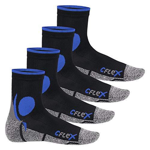CFLEX Damen und Herren Running Funktions-Socken (4 Paar) Laufsocken - Schwarz-Blau 43-46