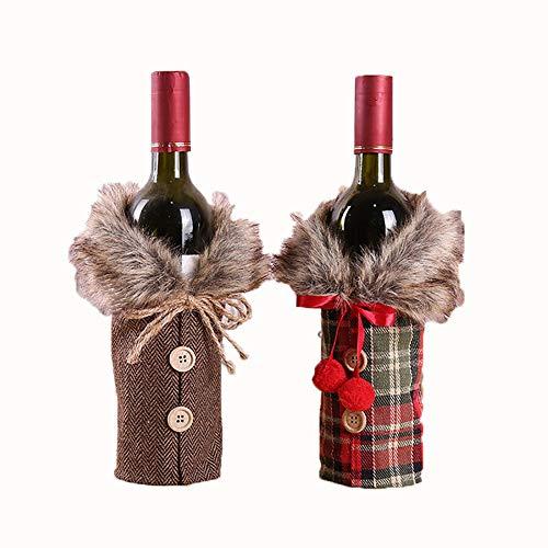 iScooter Suéter de Navidad para botella de vino de la cubierta del vestido de la botella de vino de Navidad bolsas de botellas de adornos de Navidad decoraciones