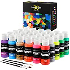 【30 Assorted Colors】30 Individual 60ml (2 fl oz) easy-squeeze Tubes. Rich, Vibrant Colors , including Normal, Glitter, Metallic & Neon colors. 【Superior Washability 】Machine Washable, easily washes off on skin, fabrics, textiles and surfaces. No stai...