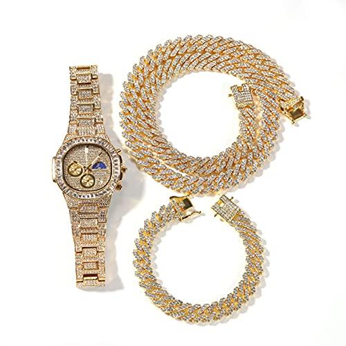 shandianniao Hombre Hip Hop Reloj Collar Pulsera Set Cadena Cubana con Reloj de Pulsera de Diamante Completo Simulación Rhinestone Cadena de Acero Inoxidable Joyería, Conjunto de 3 Piezas