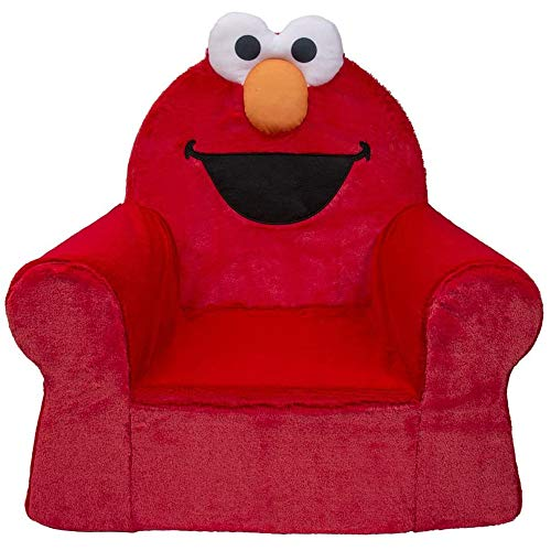Marshmallow Furniture Comfy Foam Toddler Kid's High Back Chair Armchair for Ages 2 Years Old and Up, Sesame Street Elmo, Red