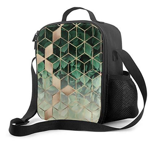 Bolsa de almuerzo aislada con hojas y cubos de la bolsa enfriadora portátil, para adultos y niños a la escuela, oficina al aire libre