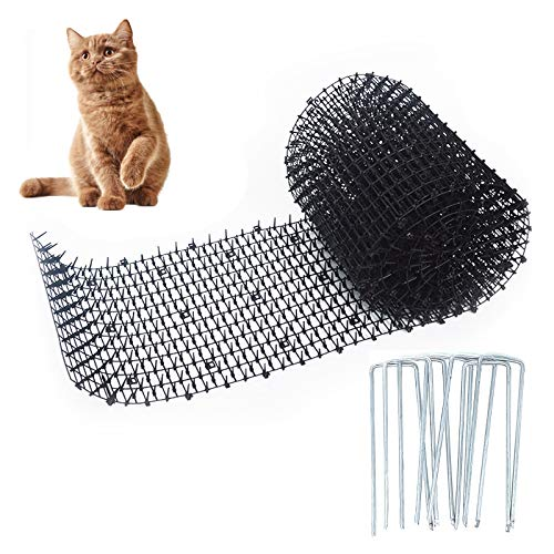 Cskunxia Cat Scat Mat with Spikes Anti Cat Mat Pet Deterrent Net with 20 U-Shaped Garden Pegs for Indoor and Outdoor Cat Dog (30 * 200cm/ 11.8 * 78.7 inches)
