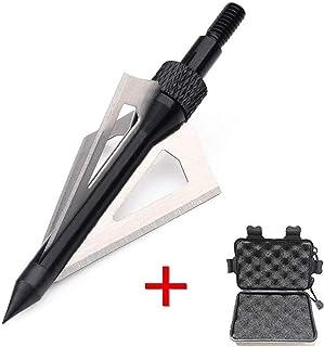 SHARROW 12 Piezas Puntas de Flechas 3 Hojas Cuchillas Agudas Broadhead 100 Grains con Caja para Flechas de Ballesta Pernos Flechas de Carbono