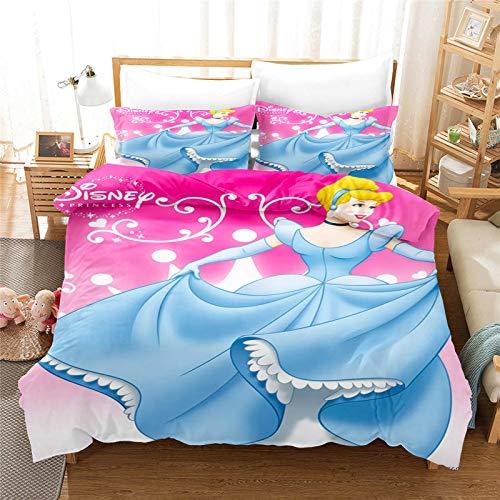 SMNVCKJ Bella Rapunzel - Ropa de cama infantil de princesas Disney Cenicienta, funda nórdica con impresión digital 3D, microfibra, con funda de almohada, para niños y niñas (7,140 x 210 cm)