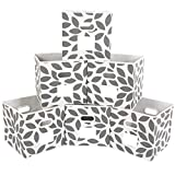 MAX Houser Fabric Storage Bins Cubes Baskets Containers with Dual Plastic Handles for Home Closet Bedroom Drawers Organizers, Foldable, Set of 6 (Grey)