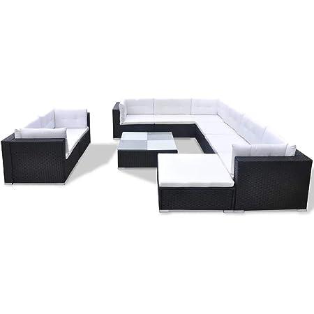 vidaXL Salon de Jardin 10 pcs avec Coussins Meubles de Terrasse Mobilier de Jardin Meubles de Patio Mobilier d'Extérieur Résine Tressée Noir