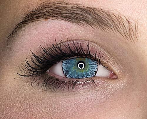 Kontaktlinsen farbig ohne Stärke farbige Jahreslinsen weiche Linsen soft Hydrogel 2 Stück Farblinsen + Linsenbehälter 0.0 Dioptrien natürliche Farben Serie Glitter Gray (grau)
