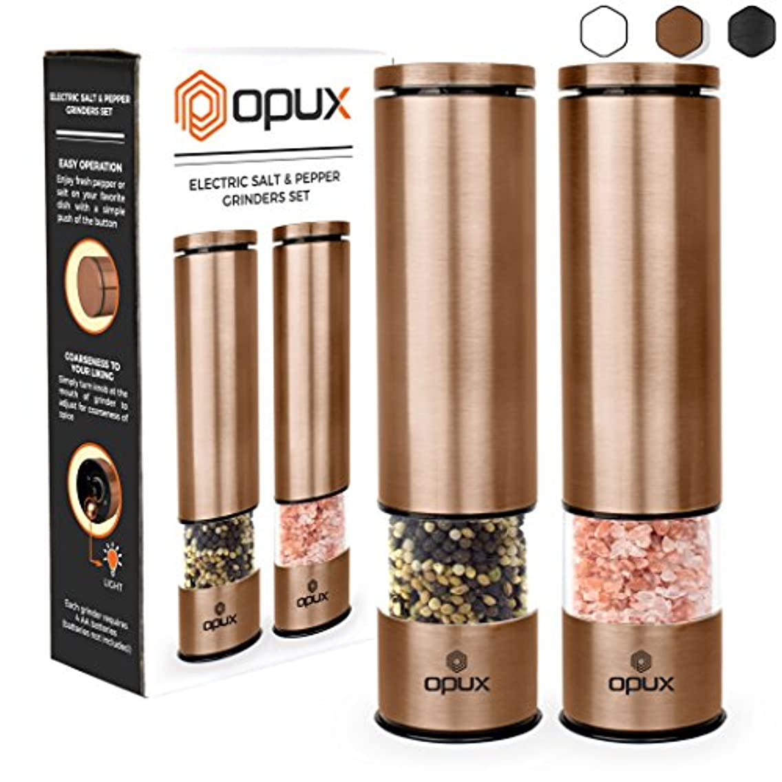 OPUX Battery Operated Salt and Pepper Grinder Set | Electric Pepper Mill, Automatic Salt Grinder with LED Light, Bottom Cover | Brushed Stainless Steel Shakers, Sleek Modern Design (Copper)