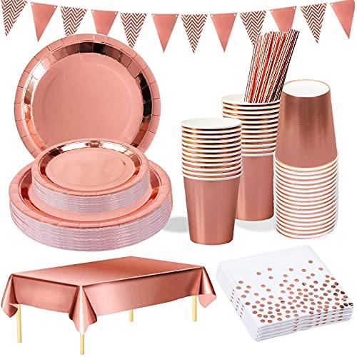 YIMAKJ Juego de vajilla de fiesta de oro rosa, 25 invitados, vasos...
