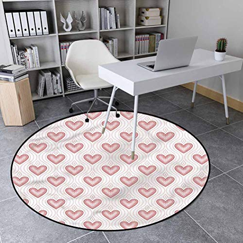 Pearls Polyester Chromatic Collection Round Rug for Bedroom Dorm Home Girls Kids Dotted Heart Pattern 6' in Diameter