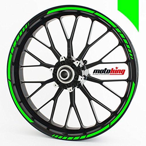 Motoking Felgenrandaufkleber GP im GP-Design passend für 13 Zoll Felgen für Motorrad, Auto & mehr - NEON GRÜN
