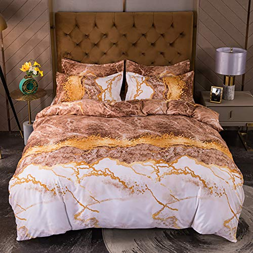 Banded Stripe Single Duvet Cover Set, Easy Care Super Weiche Baumwolle Reversible Design.trendy Golden Marmor Muster Quilt.2 Passende Kissenbezug Twin