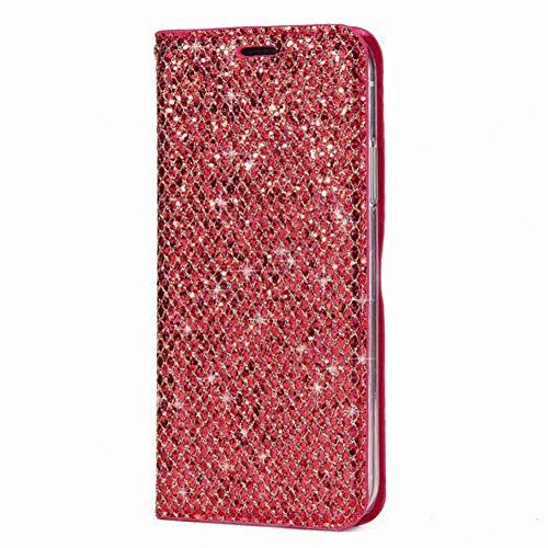 SFJUL telefoonhoesje Glitter Portemonnee Telefoonhoesje Voor iPhone X 8 7 6 6s Plus ultra Slim TPU Lederen Flip Cases Voor iPhone 5 5S SE 10 Cover, For iphone 7, Rood
