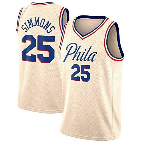 Wo nice Uniformes De Baloncesto para Hombres, Philadelphia 76ers # 25 Ben Simmons Camisetas De Baloncesto Chalecos Casual Deportes Tops Camisetas Sin Mangas,Beige 1,XL(180~185CM)