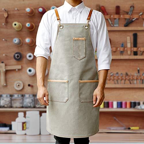 WQYH Denim Canvas Schürze , Ledergurte Barkeeper BBQ Konditor Uniform Friseur Florist Arbeitskleidung Schürze M Canvas grau