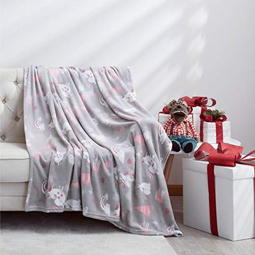 BEDSURE Kuscheldecke Einhorn kleine Decke Sofa, weiche& warme Fleecedecke als Sofadecke/Couchdecke, Unicorn Wohndecken Kuscheldecken, 130x150 cm extra flaushig und plüsch Sofaüberwurf Decke