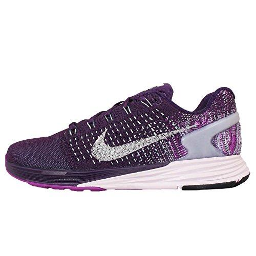 Nike Wmns Lunarglide 7 Flash, Zapatillas de Running para Mujer, Verde (Grnd Prpl/Rflct Slvr-Vvd Prpl), 36 1/2 EU