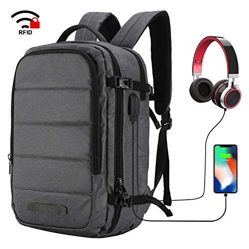 MIER Travel Laptop Backpack Anti-theft Backpack with USB Charging Port, Dark grey