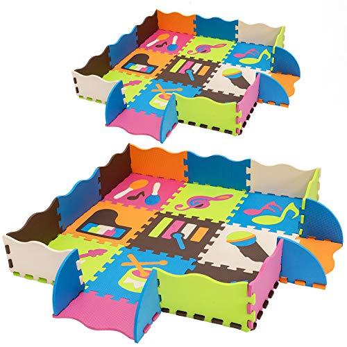 COSTWAY Puzzlematte 50 Stück mit Zaun, Bodenspielmatte mit abnehmbaren Musikinstrumentenmustern, Kinderteppich für Baby und Kinder, Spielteppich Eva, Krabbelmatte schadstofffrei