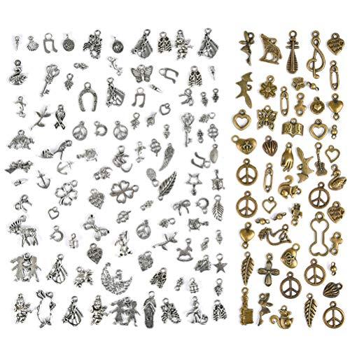 FOCCTS 150 pezzi kit misti pendenti fai-da-te ciondoli per gioielli fai da te, portachiavi, bracciali, collane, orecchini
