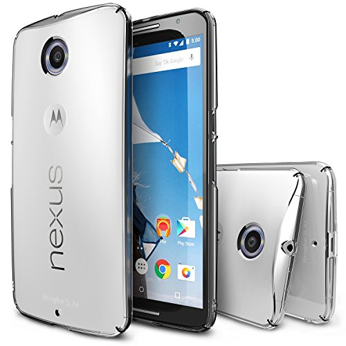 Nexus 6 Case, Ringke [Slim] Extreme Lightweight & Thin Cover w/ Screen Protector [Snug-Fit] Side to Side Edge Coverage Scratch Resistant Superior Coating PC Hard Skin for Google Nexus 6 - Crystal