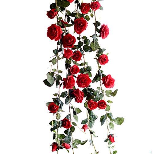ZUMUii Butterme 1PCS 6 FT gefälschte Rosen Rebe Blumen Anlagen künstliche Blumen Haupthotel Büro Hochzeitsfest Garten Fertigkeit Kunst Dekor Rot