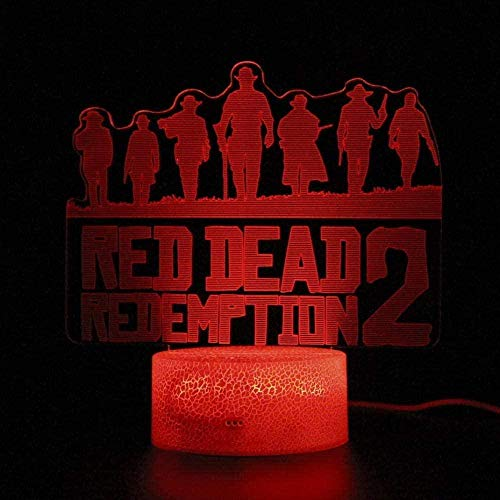 Rdr2 Red Dead Redemption 2 Game Projection 3D Night Light Led Illusion Lamp USB 7 tipi di tocco che cambia colore + telecomando, utilizzato per la decorazione della camera da letto regali per bambini