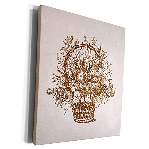 Unframe Canvas Printing Wall Art 40x50 Russ Billington Designs Pen And Ink Illustration Of Flower Basket On Canvas Background Framed Canvas Art Picture Print Wall Decoration for Living Room/Bed Room