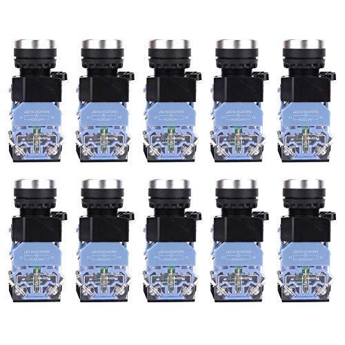 10 Unindades Interruptor de Botón,EM38-11DS Botón Pulsador de Cabeza Plana de Encendido/Apagado...