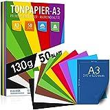 50 fogli di carta da disegno DIN A3-130 g - 10 colori - carta solida - fogli colorati per scuola, hobby - fogli per bambini e fai-da-te, accessori artigianali - carta per fotocopie - DALLA GERMANIA