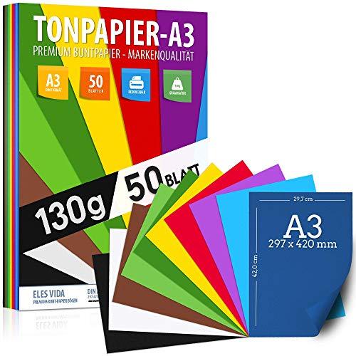50 Blatt Tonzeichenpapier DIN A3 – 130 g - 10 Farben – Festes Papier - Farbige Blätter für Schule, Hobby - Kinder & DIY Bögen, Bastel Zubehör - Kopierpapier, Geschenke, Buntpapier - AUS DEUTSCHLAND
