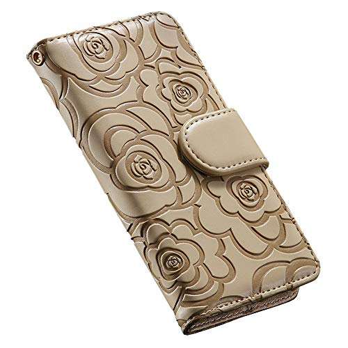 iPhone 11 Pro ケース 手帳型 財布型 カード収納 アイフォン11 Pro ケース 手帳 花柄 革 レザー スマホケース 携帯ケース マグネット式 スタンド機能 軽量 耐衝撃保護 ストラップ付き 5.8インチ用 ゴールド