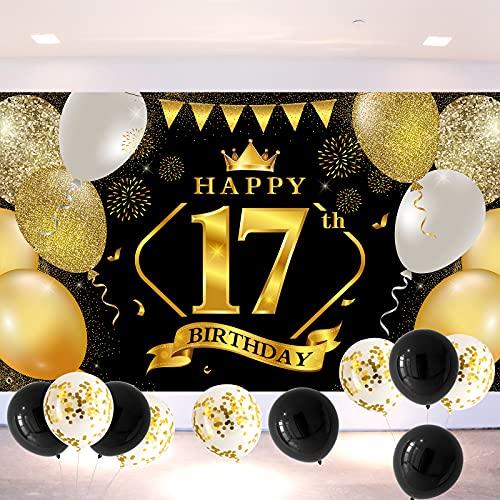 17.Geburtstagsfeier Dekorationen Banner Hintergrund, Schwarzes und Gold Große Stoff Schild Poster 17. Jahrestag Hintergrund Banner 17. Geburtstag Party Lieferunge