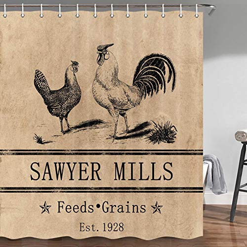 Rooster Shower Curtain for Bathroom, Cute Chicken and Rooster Design Country Style Miller Farm Charcoal Poultry Farmhouse Lodge Shower Curtain, Fabric Shower Curtain Hooks Include, 70 in