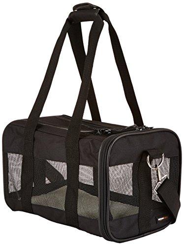 Amazon Basics Pet carrier bag, soft side panels, Black, Small