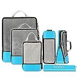 Eono by Amazon - Organizadores de Viaje de compresión expandibles, Impermeable Organizador para Maletas, Organizador de Equipaje, Cubos de Embalaje, Compression Packing Cubes, Azul 6, Set