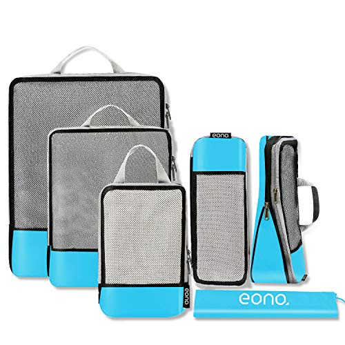 Eono by Amazon - Compression Packing Cubes, Travel Luggage Organiser Set, Travel Cubes, Extensible Organizer Bags for Travel Suitcase Organization, Blue, 6 Set