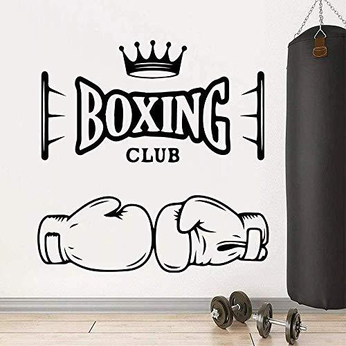 Pegatinas De Pared Club De Boxeo Fitness Art Deco Centro De Entrenamiento De Boxeo Moderno Decoración Del Hogar Pegatinas De Vinilo Murales-70X70Cm_Black