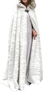 Women's Winter Warm Faux Fur Fleece Maxi Long Cloak Cape with Lined Hood