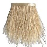 ADAMAI Natürliche Straußenfedern, Fransen, DIY, Kleid, Nähen, Basteln, Kostüme, Dekoration, 1,8 m (cremefarben)