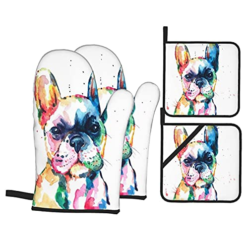 Janrely 4Pcs Oven Mitts and Pot Holders Set,Head Frenchie French Bulldog Original Watercolor Dog Wildlife Rainbow Funny,Heat Resistant Kitchen Gloves for Cooking,Baking,Grilling,BBQ